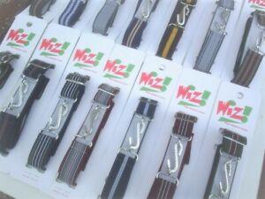 wiz brand ladies gents striped elastic snake belts 25mm wide