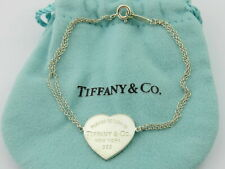 TIFFANY & CO Sterling Silver Return to Tiffany Heart Tag Double Chain Bracelet