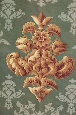 Fabric antique French printed green Art Nouveau design 29X31 inches