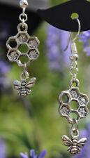 Bee earrings honeycomb dangly