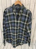 Ralph Lauren Marlowe Button Front Shirt Long Sleeve Men's Sz L Plaid Green V1