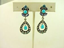 Sterling Silver Nicky Butler Gorgeous Turquoise Topaz Tear Drop Dangle Earring