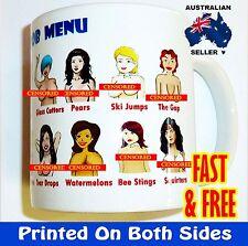 Boob menu chart - Coffee Mug Cup birthday rude funny novelty Fathers Day gift