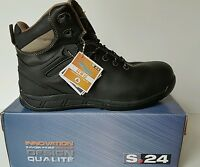 MENS NEW BLACK LEATHER HI TOP ANKLE SAFETY BOOTS COMPOSITE TOE CAP size 6 to 12
