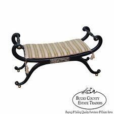 Quality Ebonized Regency Style Curule Gilt Accent Bench