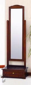 Specchio da terra in legno massello con cassetto Spazio Casa - Noce