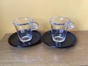 2 x Nespresso Expresso Coffee Cups & Saucers New