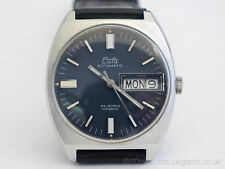 NOS Vintage German 70s Eufa Automatic Watch beautiful blue dial - PUW 1564