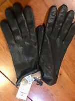 Women's Fownes Black Leather Gloves With Lining Sz 8 WPL9522