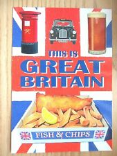 New - Postcard - Red Post Box London Black Taxi Cab Pint of Beer Fish & Chips