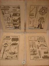 CACCIA DIDEROT/Panckoucke 1780 Set di 4 tavole incise Arte venatoria TRAPPOLE