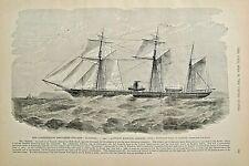 CIVIL WAR, Rebel Steamer Alabama Built In Liverpool, Vintage 1895 Antique Print