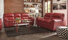 Tassler Sofa & Loveseat Casual Red 100% Bonded Leather Living Room Set Ashley