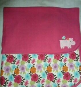 Gymboree Hippo Pink Floral Baby Blanket Receiving Hippopotamus Flower Cotton