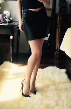 $2100 Jitrois Black Super High Quality Leather Mini Skirt FR 34 US 0-2