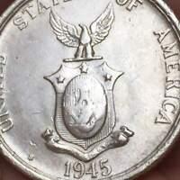 1945 S Philippines 50 Centavos (US Admin) .75 SILVER  **AU/UNC** LUSTER COIN