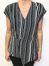SABA black white print cap sleeve fitted top sz 10 european fabric