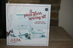 NEW 5 PIECE GLASS SERVING SET 4 PLATES WITH 1 SERVING PLATTER CLEAR WITH SILVER