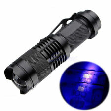 UV Flashlight Purple Violet Light LED CREE Q5 Flashlight Torch Zoomable Aluminum