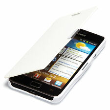Samsung GALAXY s2 i9100 i9105 Plus Slim Flip Case Custodia Cover bianco a9