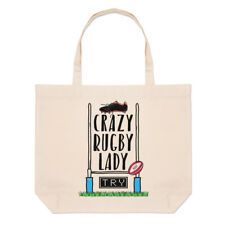 Crazy Rugby Lady Large Beach Tote Bag - Funny League Union Shopper Shoulder