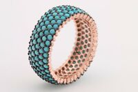 Turkish Jewelry 5 Lines Turquoise Rose Gold 925 Sterling Silver Band Ring Size 6
