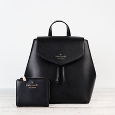 Kate Spade Lizzie Medium Flap Backpack Drawstring Tote Bag Black Leather