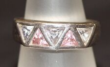 RETRO SECOND HAND DIFFERENT DESIGNER 925 SILVER RING INSET PINK AND LILAC STONES