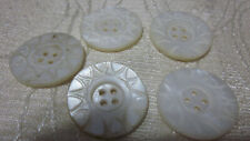 """New listing 5 Pc Lot 1"""" Vintage Antique Carved Mother Of Pearl Mop Shell Buttons"""