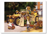 TEDDY BEAR going on a trip Old Car Luggage suitcase NEW Russian Postcard