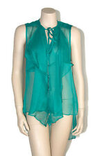 Womens New Aqua Green Sheer Sleeveless Asymmetrical Top Size S Brand New
