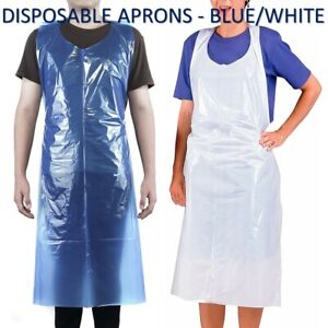 Disposable Plastic Aprons Blue / White Polythene Eco Flat Pack Waterproof Aprons