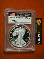 2017 W PROOF SILVER EAGLE PCGS PR70 DCAM FIRST STRIKE FLAG MERCANTI SIGNED LABEL