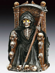 Grim Reaper Skeleton Sitting with LED Figurine Statue  Halloween