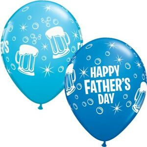 """Happy Fathers Day Beer Mugs 11"""" Qualatex Latex Balloons"""
