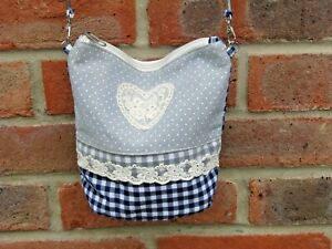 ladies women's teenager children  cloth charming blue checkered shoulder bag UK