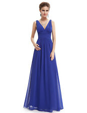 Long Bridesmaid Evening Formal Dresses V-neck Party Prom Gown 09016 Ever-Pretty Sapphire Blue 4