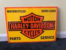 "VINTAGE HARLEY DAVIDSON MOTORCYCLE PARTS DEALER 17"" PORCELAIN METAL GAS OIL SIGN"