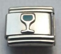 WINE GLASS Congrats Celebration Italian Charm Fits Classic  Bracelet Charms Link