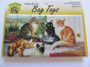 Ruth Maystead Bag Tag- luggage Tag-- Cats- in window- six cats-flexible plastic