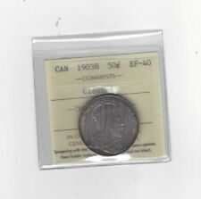 **1903H**, ICCS Graded Canadian Silver 50 Cent, **EF-40 Cleaned**