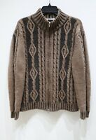 Glenfield cable knit sweater full zip jacket wool alpaca brown men's size Large