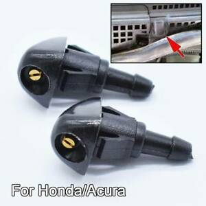 Front Windshield Washer Nozzles Jet Spray For Honda Civic Fit Jazz CR-V Accord