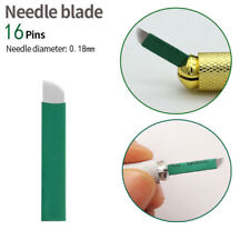 100x Microblading Semi Permanent Makeup Manual Eyebrow Tattoo Blades 16 Needles