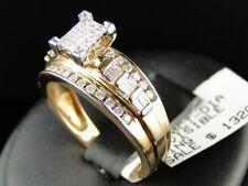 Mujer Oro Amarillo Diamante Compromiso de Boda Anillo de Banda