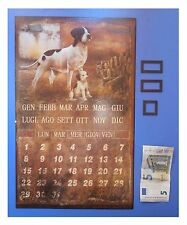 """Targa vintage """"Calendario perpetuo magnetico, calamite, cani"""", metallo, cm 36x13"""
