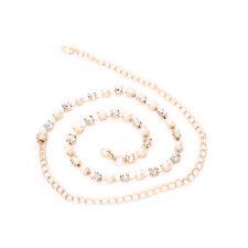 oro perla e strass diamante DONNE RAGAZZE Vita catena pendente CINTURA MODA