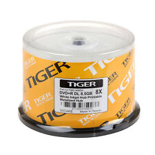 50 Pack Tiger DVD+R DL Dual Double Layer White Inkjet Hub Printable Disc 8.5GB