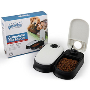Automatic 2 Meal Pet Feeder Dog Cat Food Dispenser Station Bowl 48h Timer Dish