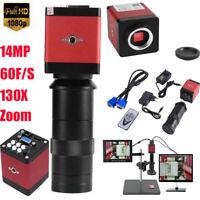 14MP 1080P HDMI VGA HD Industry 60F/S Video Microscope Camera 8-130X Zoom Lens